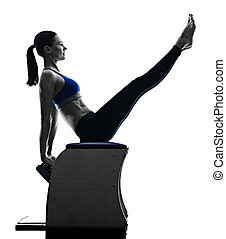 woman pilates chair exercises fitness isolated