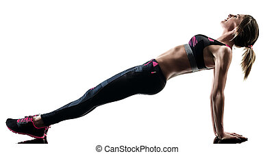 woman pilates fitness exercises silhouette isolated