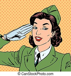 Woman pilot stewardess shape salutes art comics retro style Hal