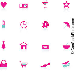 Woman pink icons (vector)