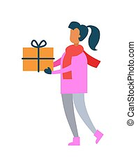 Woman Pink Sweater Hold Present Gift Box in Hands