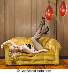 woman., pinup, retro