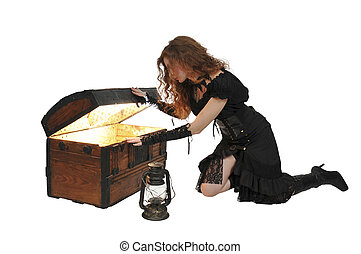 Woman pirate opening chest - Beautiful young woman pirate...
