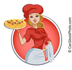 Woman pizza cook. Chef. Isolated on a white background