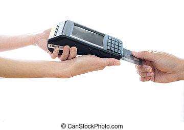 Woman placing credit card into reader