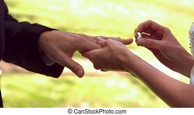Woman placing ring on grooms finger