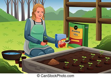 Woman Planting Herbs - A vector illustration of beautiful...