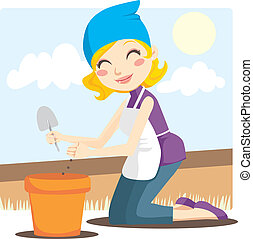 Blonde woman planting flower seeds in a pot with a small shovel