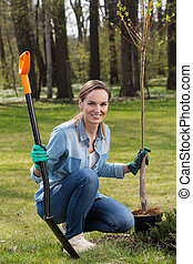 Woman planting young tree