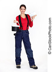 Woman plasterer on white background