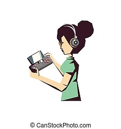 woman player with video play portable