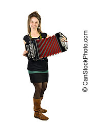 Woman playing accordion front white background