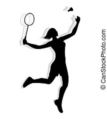 Silhouette of a female athlete playing badminton with racket and shuttlecock.