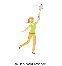 Woman Playing Badminton With Shuttlecock
