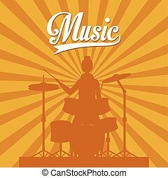 woman playing battery drums character silhouette