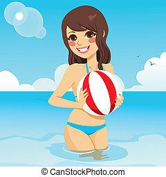 Woman Playing Beach Ball
