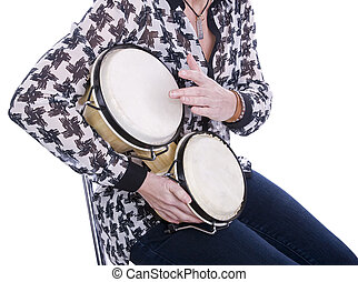 woman playing bongos with white background