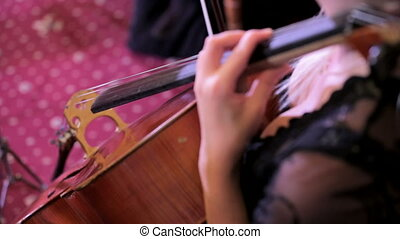 Woman playing bow on double bass. View from above.