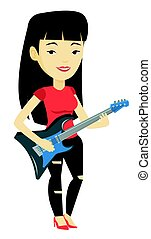 Woman playing electric guitar vector illustration.