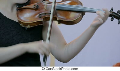 Woman playing fiddle - Symphony concert - unrecognizable...