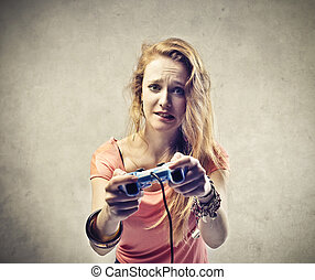 Woman playing game