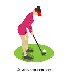 Woman playing golf, isolated vector silhouette - Vector