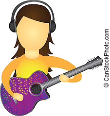 woman playing guitar