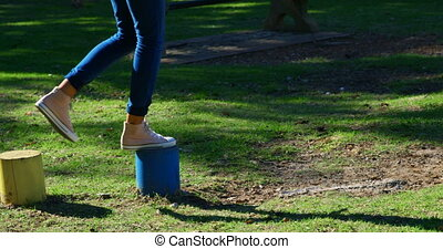 Woman playing in the park 4k - Woman playing in the park on...