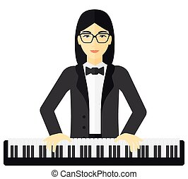 Woman playing piano.