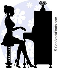 woman playing piano - silhouette of young woman playing the...