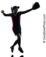 woman playing softball players silhouette isolated - one...