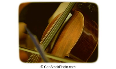 Woman playing the double bass. 8mm retro style film.