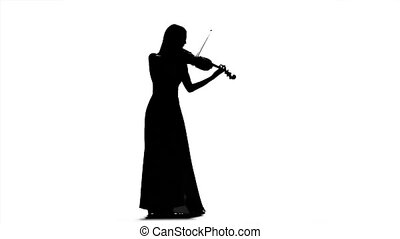 Woman playing the viola. Silhouette on white background. Slow motion
