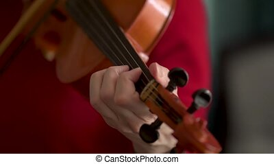 Woman playing the violin. Hands of musician, close up view