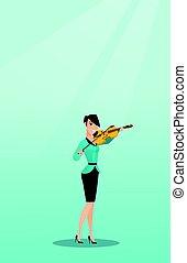 Woman playing the violin vector illustration.