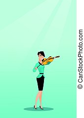 Woman playing the violin vector illustration.