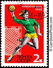 Woman Playing Throwing Handball - USSR- CIRCA 1967: A stamp...