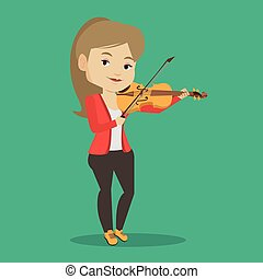 Woman playing violin vector illustration. - Young smiling...