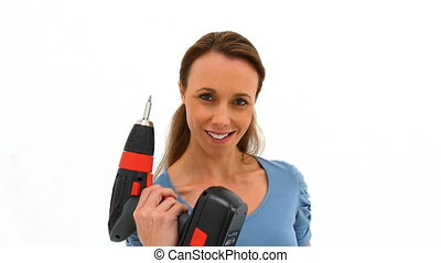 Woman playing with a power drill