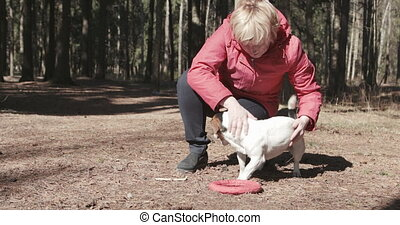Woman playing with her dog at outdoor park - Mid age woman...
