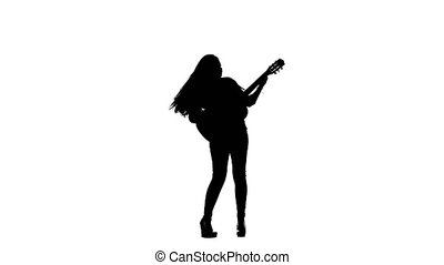 Woman plays the guitar and sings. White background....
