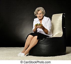 Woman plays video game