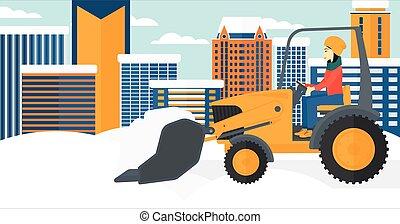 Woman plowing snow.