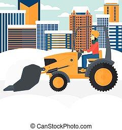 Woman plowing snow. - An asian woman driving a bulldozer...