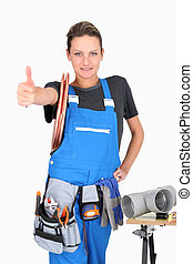 woman plumber with thumb up