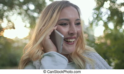 Woman Plus Size Say Goodbye On Mobile Outside. Happy ...