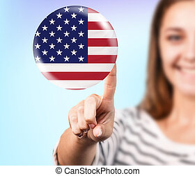Woman point on the bubble with american flag