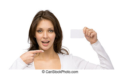 Woman pointing at business card - Portrait of woman pointing...