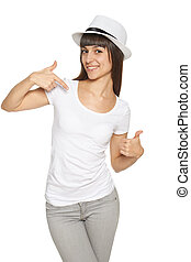 Woman pointing at herself and showing thumb up