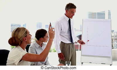 Woman pointing at white board and a